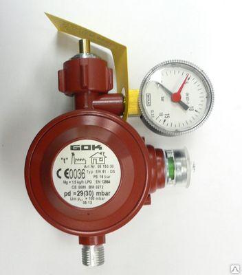 Регулятор давления газа GOK 1,5кг/час 29(30)мбар KLFхG1/4 LH-KN PS16бар с предохр. устройством с маном.